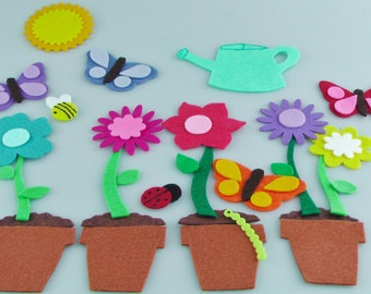 Handmade Felt Board Flower Set, Felt Flower Flannel Board Story, Pretend Play Felt Garden Quiet Activities, Felt Flower Toy Preschool Gift