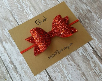 Red glitter bow headband or clip , girl- baby-toddler bow headband, red bow headband, baby bow headband