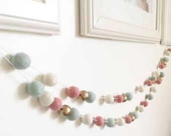 Oh so Pretty double feltball garland with gold metalic wooden beads, home decor, nursery decor, handmade pastel colour, pink, mint, white