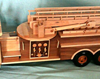 Fire truck  Hand crafted wood with extendable and swiveling ladder