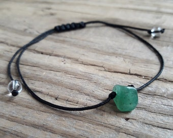 Green jade stone bead bracelet jade crystal healing health good luck good karma protection bracelet minimalist bracelet with green stone