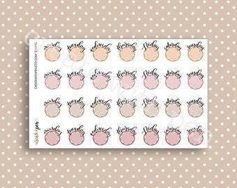 DAYS of the WEEK - Hand lettered planner stickers - Calendar Collection - Kikki K Filofax Erin Condren C1611C