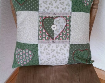 Feather patchwork cushion