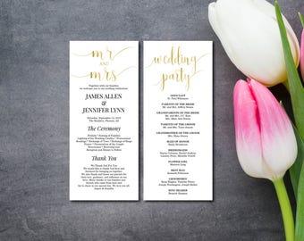 Gold Wedding Program, Mr & Mrs Program Card, Faux Gold, Wedding Party, EDITABLE PDF Template, DIY Printable, Digital, Instant Download E122D