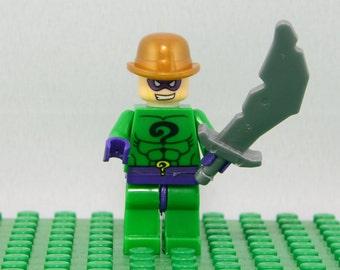 Riddler Custom minifigure (Lego Compatible) DC Comics Batman Villain Superhero Edward Nygma Dark Knight Arkham Asylum Christmas Stocking