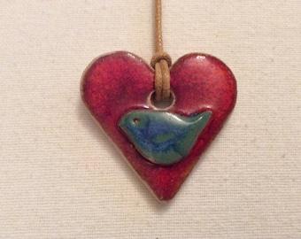 Green bird ceramic necklace