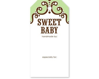 CLEARANCE Knitterella Sweet Baby Green, Gift Tag, Knit Gift Tag, Knitting Tag, Wash Instuction Tag