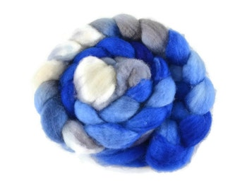 BFL 4 oz hand dyed roving, Combed Top, Blue Faced Leicester spinning fiber, blue, gray, white - Cinderella