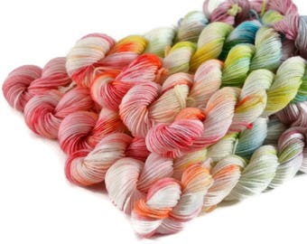 Mini Skeins, Hand Dyed Yarn, Sock Weight, Superwash Merino Wool Yarn, Knitting Yarn, Sock Yarn, Multi-colored, rainbow - Birthday Cake