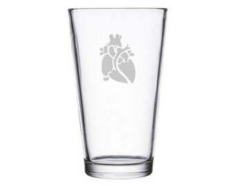 Anatomically correct Heart etched pint/wine glass, cardiologist gift, anatomy present, anatomical heart, Valentines Day gift, anatomic heart