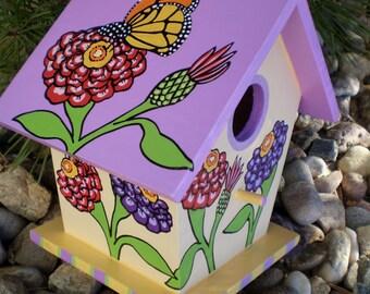 Monarch Butterfly Hand Painted Decrative Bird House