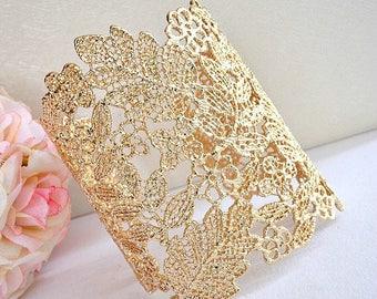 Gold Floral Leaves Lace Bridal Cuff Bracelet, Art Deco Lace Filigree Wedding Cuff Bracelet, Bridesmaid Cuff Bracelet, Statement Bracelet