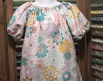 Girls dress, Girl peasant dress, Little girls dress, Girl spring or summer dress, Boho girl dress, Toddler dress,  Size 18 months, #143