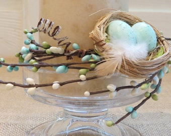 Spring Candle Ring with Nest & Eggs. Spring sale price!