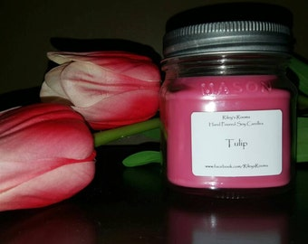Tulip Mason Jar Soy Candle - Scented Candle - Housewarming Gift - Tulip Candle
