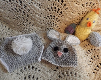 Grey and White Bunny Hat and Diaper Cover for 3-6 months