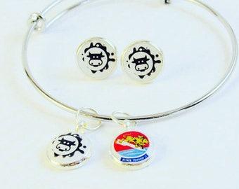 Change of Command Gift- Charm Bracelet & Earring Set- Custom Charm Bracelet- Military Gift- Military Promotion Gift