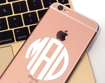 FREE SHIPPING Custom Circle Monogram decal for iPhone, cell phone