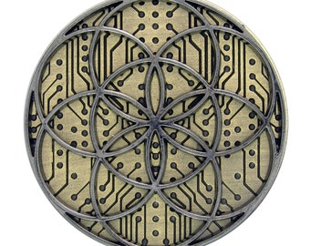 Seed of Life Spinner Sacred Geometry Lapel Pin - Heady Hat Pin - Music Festival Pin ( Black & Gold )
