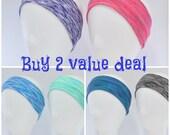 Wide blue lime teal pink black or purple headband,  yoga headband, crossfit headband, workout headband, athletic headband, spacedyed