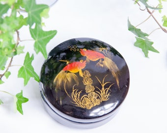 Lacquer jewelry box, vintage jewelry box,  treasure chest, wood jewelry box round, black and red box, gold fish accent, japanese jewelry box