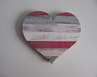 Wooden color grey, white, pink and Fuchsia heart