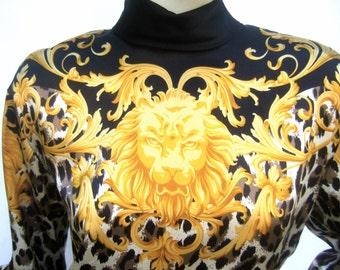 ESCADA Luxurious Silk Charmeuse Jungle Print Tunic Blouse