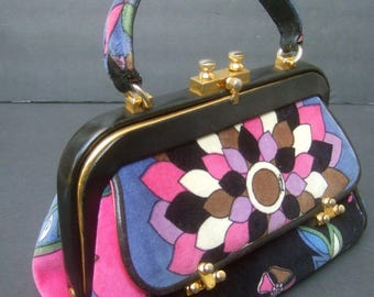 EMILIO PUCCI Rare Velvet Leather Trim Handbag c 1970