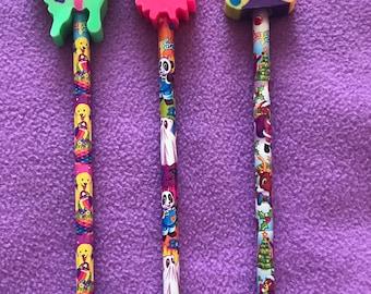 90's Vintage Lisa Frank Easter Halloween Christmas Pencils Jumbo Erasers