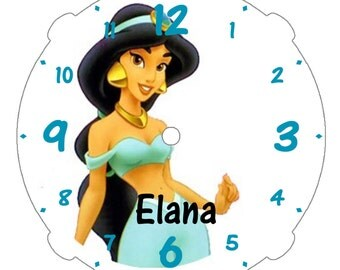 """Personalized 9"""" Character Wall Clock/Your Choice of Graphic/Clock Colors-Pink-Baby Blue-White-Black-Red-Blue/Quartz Movement/Kids Wall Decor"""