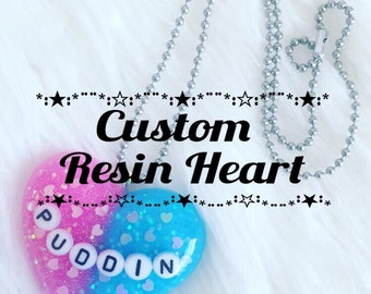 Custom Resin Heart, Resin Pendant, Resin Charm, Resin Necklace, Resin Keychain