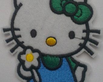 Hello Kitty Cat Iron on Applique, Girls' Iron on Patch, Hello Kitty with Flower Iron-on Application