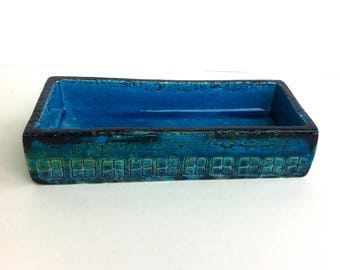 ALDO LONDI BITOSSI Rimi Blue Rectangle Box Mid Century Italian
