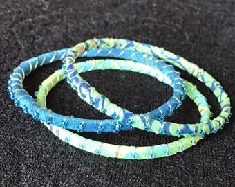 Blue, lime, spring fun, cloth bangles