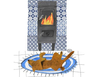 Signed Print - A Snooze by the Fire
