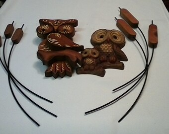 Vintage Owl and Cattail Wall Decor Great Condition and Wondeful gift Idea Cabin Decor from the 70's