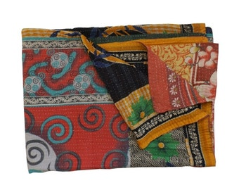 Vintage Kantha Quilt Reversible Twin Size Floral Cotton Sari Throw