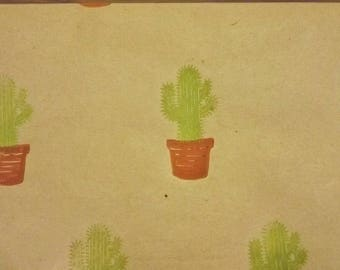 HAND PRINTED GIFTWRAP- Cactus Print Wrapping paper, Potted Cacti Print, Recycled Kraft Wrap