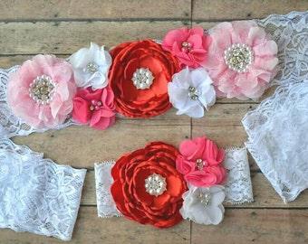 baby girl maternity sash - red and pink maternity sash - girl maternity sash - newborn headband - girl baby shower - mom sash