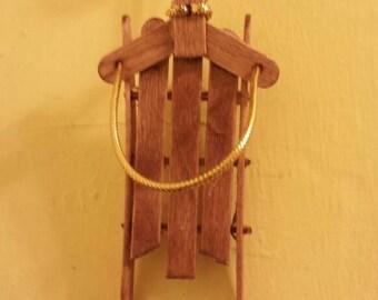 Wooden runner sled ornament