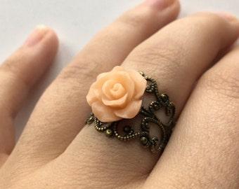 Rose Ring • vintage rose ring, vintage ring, flower ring, rose jewelry, Valentine's Day gift, orange rose ring, peach rose ring, peach rose