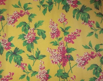 lovely old fabric patterned with wildflowers on a yellow background