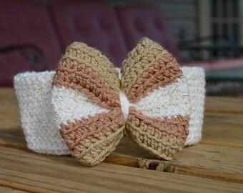 Crochet Bow, Crochet Bow Headband, Bow Headband, Bow Ear Warmer, Crochet Ear Warmer, Crochet Hair Bow, Baby Headband, Baby Bow Headband