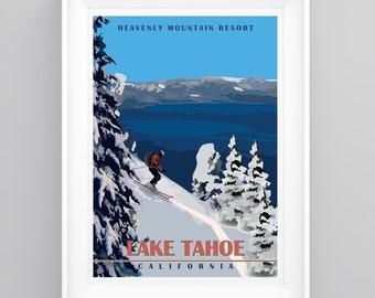 Vintage Travel Poster Heavenly Ski Resort, Lake Tahoe, California Handmade, A4 or A3 size, CUSTOMISABLE