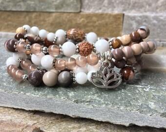 Mala necklace 108 beads Lotus Buddha jade agate Jasper Rudraksha betel nut