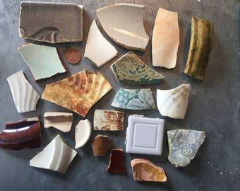 South Coast Sea Tumbled Ceramics - Greens and browns
