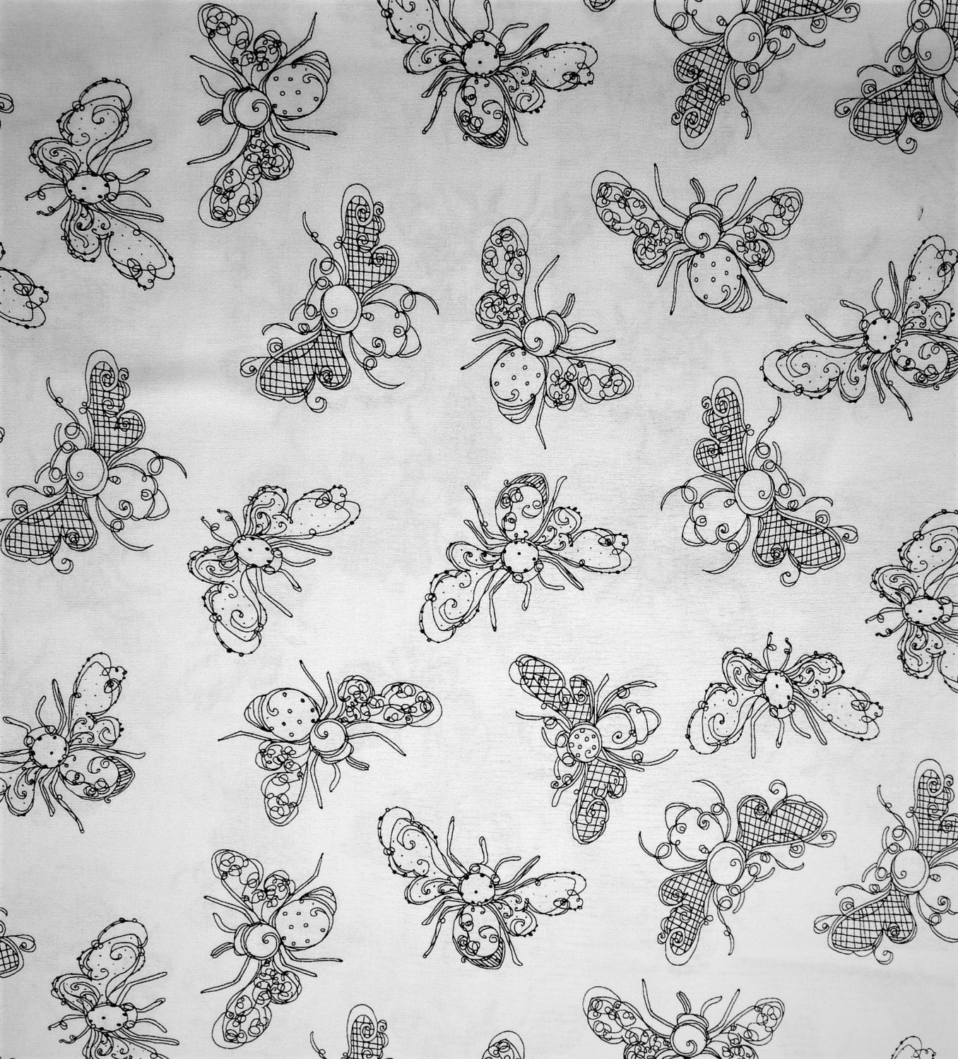 Busy bee loralie designs novelty craft quilting insect for Black and white childrens fabric