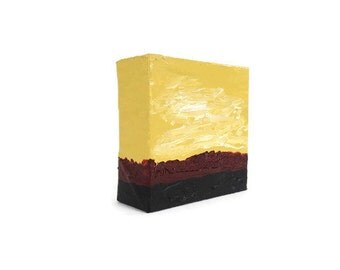 Warm Sky Abstract Acrylic Mini Painting 4x4 inch Square