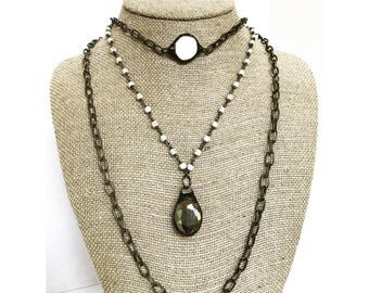 Soldered Pyrite Pendant Necklace