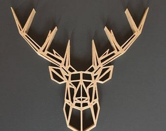 Sculpture murale / Cerf géométrique imprimé en 3D en Bois